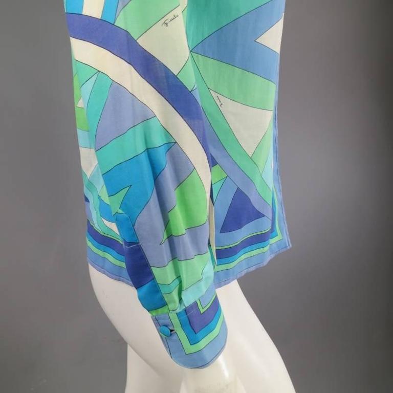 Vintage EMILIO PUCCI Size M Blue Navy & Teal Print Sheer Cotton Blouse 6