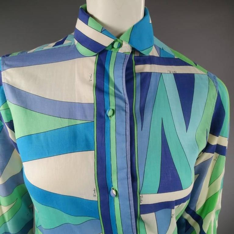 Vintage EMILIO PUCCI Size M Blue Navy & Teal Print Sheer Cotton Blouse 3