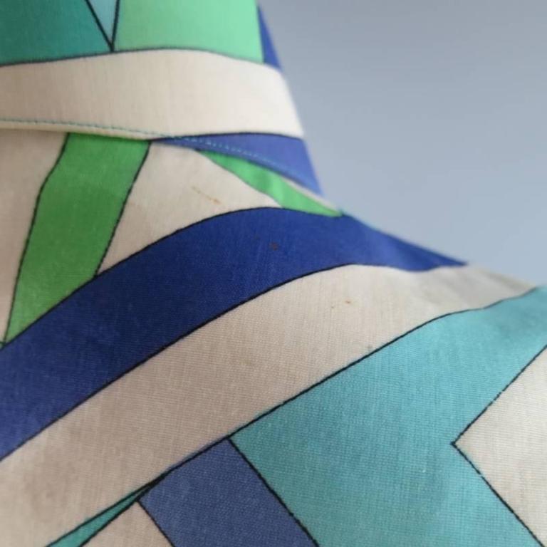 Vintage EMILIO PUCCI Size M Blue Navy & Teal Print Sheer Cotton Blouse 7
