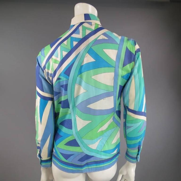 Vintage EMILIO PUCCI Size M Blue Navy & Teal Print Sheer Cotton Blouse 8