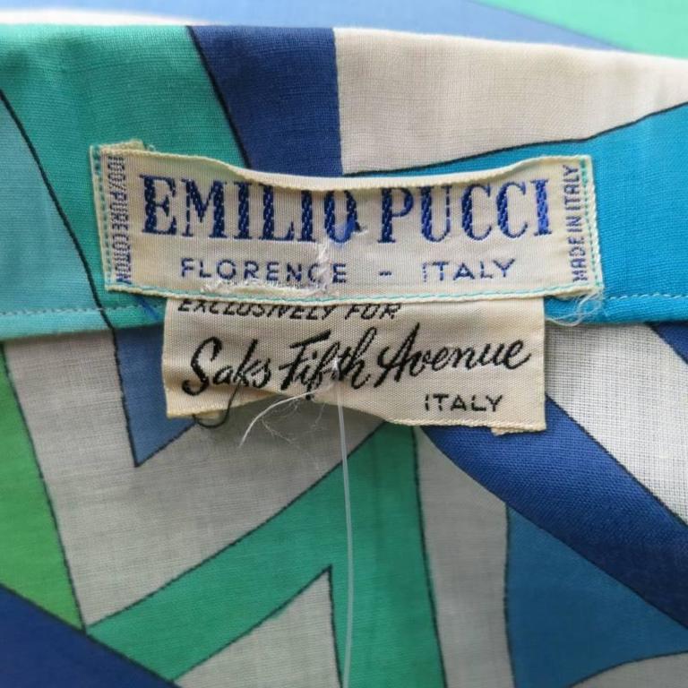 Vintage EMILIO PUCCI Size M Blue Navy & Teal Print Sheer Cotton Blouse 9