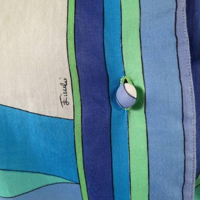 Vintage EMILIO PUCCI Size M Blue Navy & Teal Print Sheer Cotton Blouse 4
