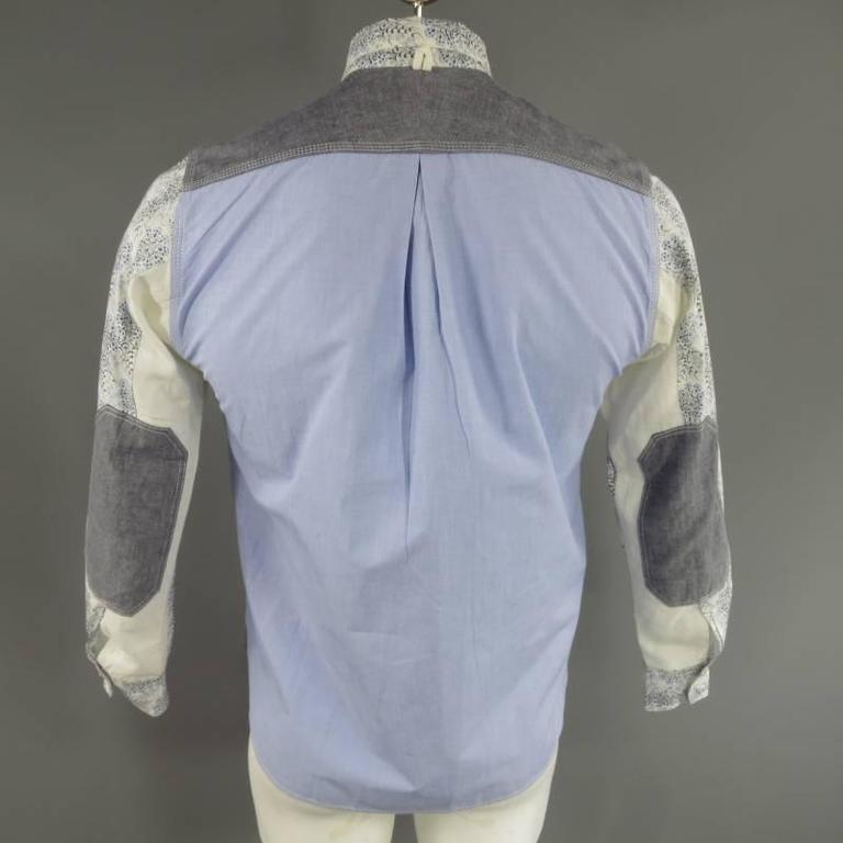 COMME des GARCONS Men's Size S Printed Patchwork Cotton Long Sleeve Shirt For Sale 4
