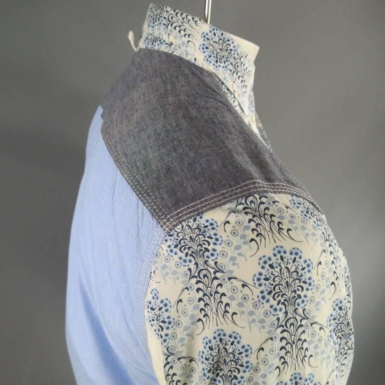 COMME des GARCONS Men's Size S Printed Patchwork Cotton Long Sleeve Shirt For Sale 2