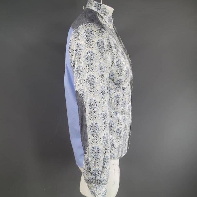 COMME des GARCONS Men's Size S Printed Patchwork Cotton Long Sleeve Shirt For Sale 1