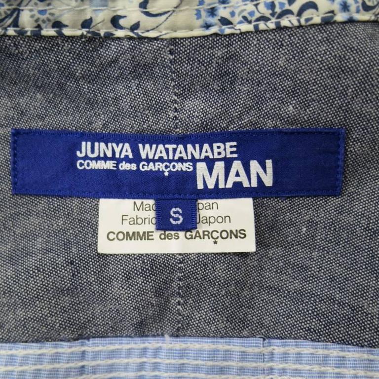 COMME des GARCONS Men's Size S Printed Patchwork Cotton Long Sleeve Shirt For Sale 6