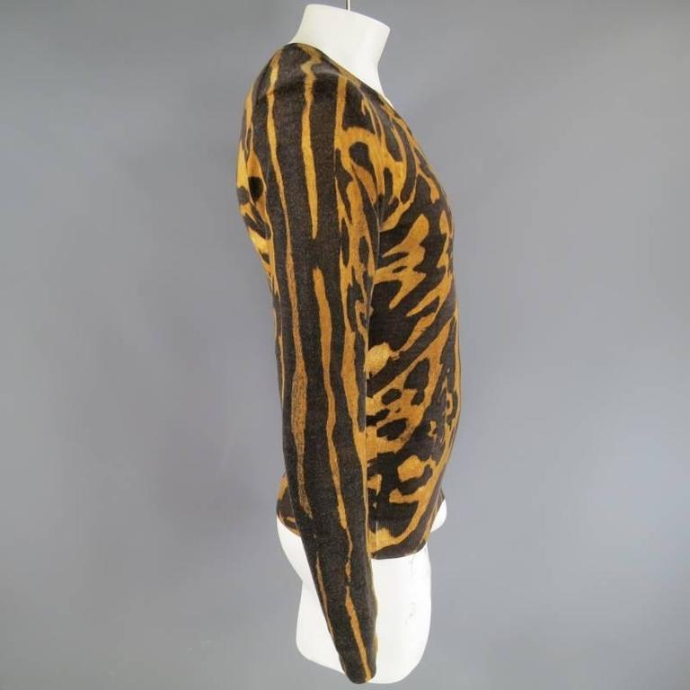 ALEXANDER MCQUEEN Men's Size S Brown Leopard Cheetah Animal Print Wool Pullover 4
