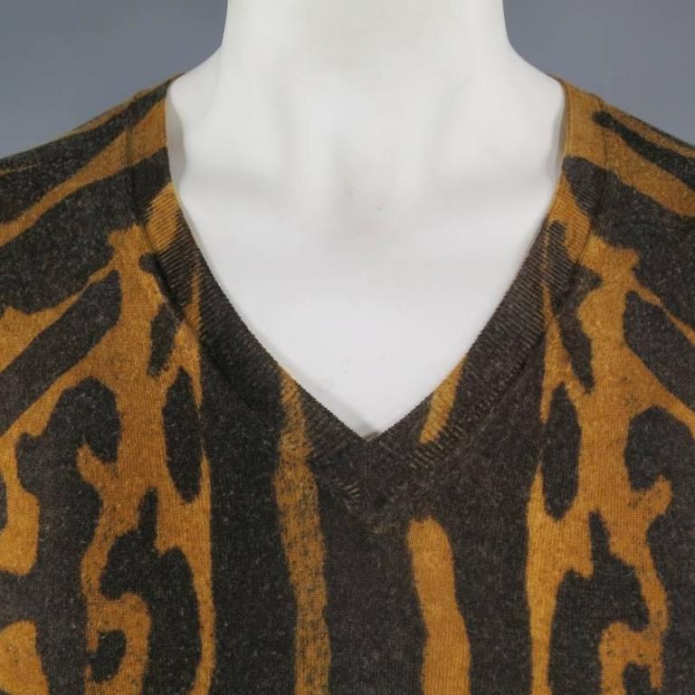 ALEXANDER MCQUEEN Men's Size S Brown Leopard Cheetah Animal Print Wool Pullover 2