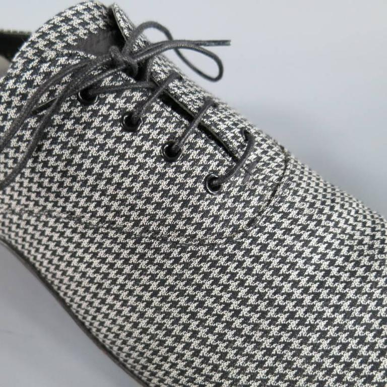 Prada size 12 gray and black houndstooth fabric pointed lace up at