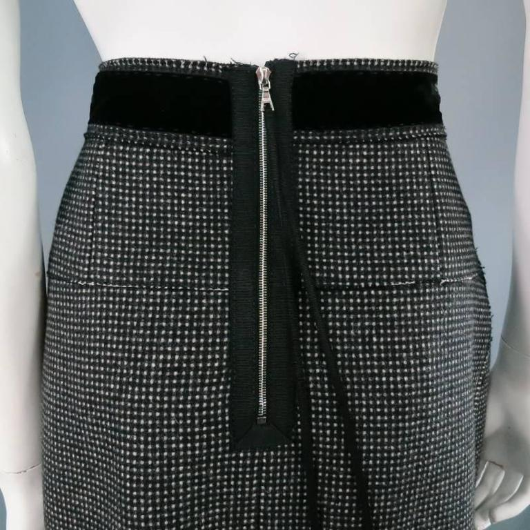 marc collection size 8 charcoal gray wool midi