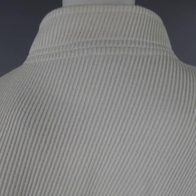 OSCAR DE LA RENTA Size 10 Off White Ribbed Cotton Open Front Jacket For Sale 1