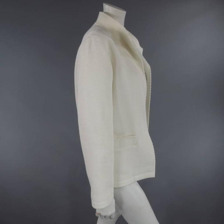 Women's OSCAR DE LA RENTA Size 10 Off White Ribbed Cotton Open Front Jacket For Sale