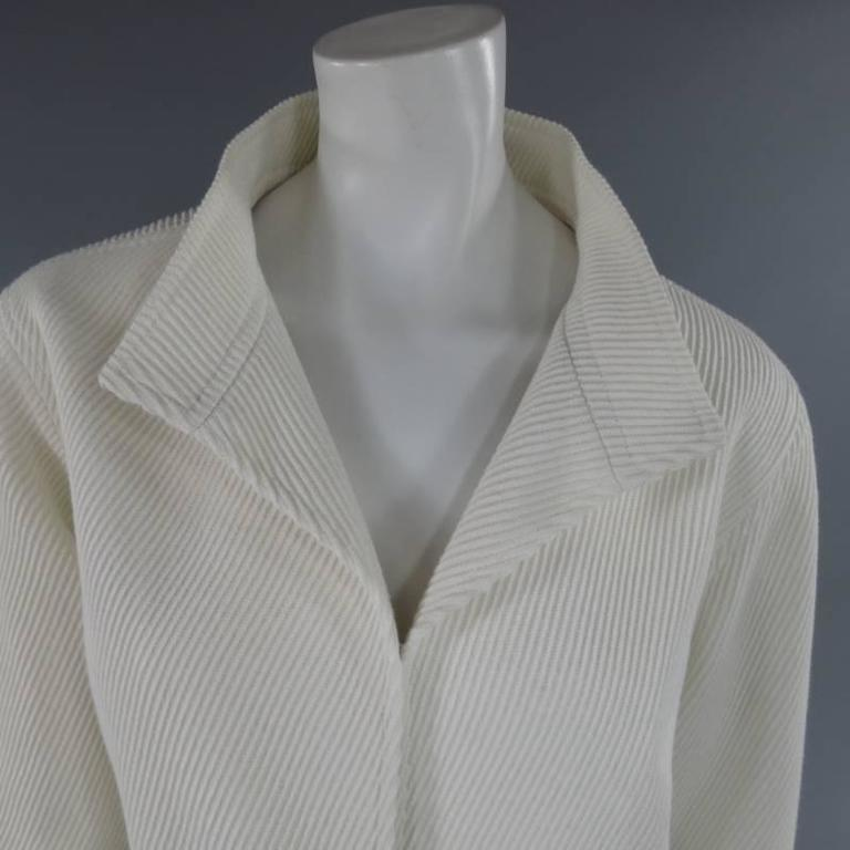 OSCAR DE LA RENTA Size 10 Off White Ribbed Cotton Open Front Jacket In Excellent Condition For Sale In San Francisco, CA