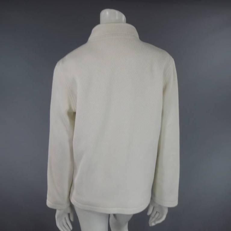OSCAR DE LA RENTA Size 10 Off White Ribbed Cotton Open Front Jacket For Sale 2