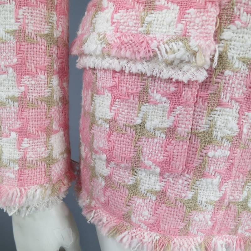 Chanel Size 6 Pink And Beige Houndstooth Raw Edge Flower