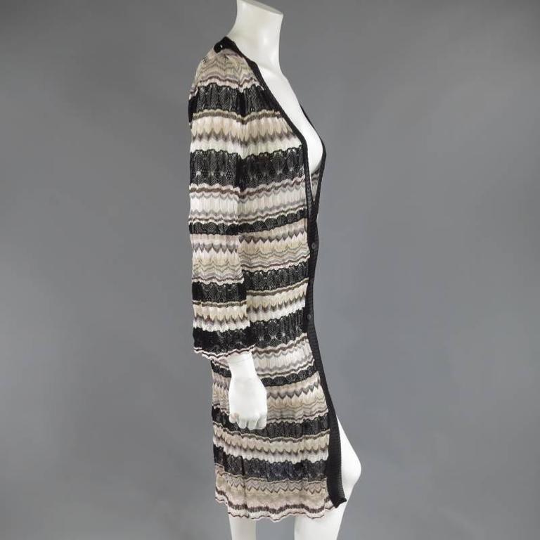 MISSONI Beige Brown Pink Grey & Black Striped Mesh Knit Cardigan Coat 6