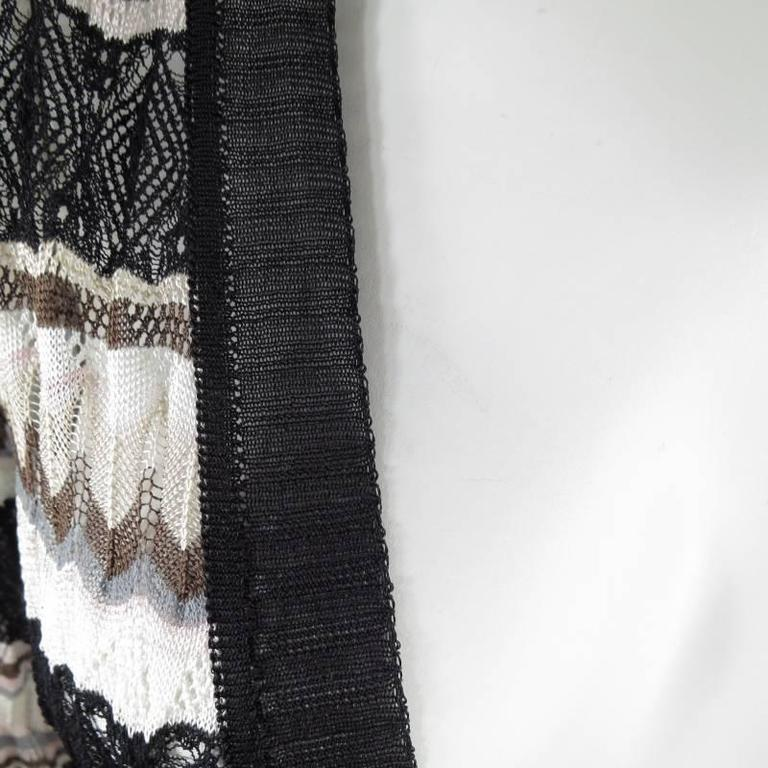 MISSONI Beige Brown Pink Grey & Black Striped Mesh Knit Cardigan Coat In Excellent Condition For Sale In San Francisco, CA