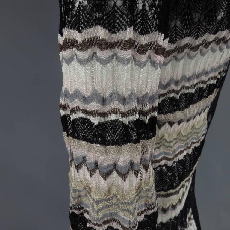 MISSONI Beige Brown Pink Grey & Black Striped Mesh Knit Cardigan Coat 7