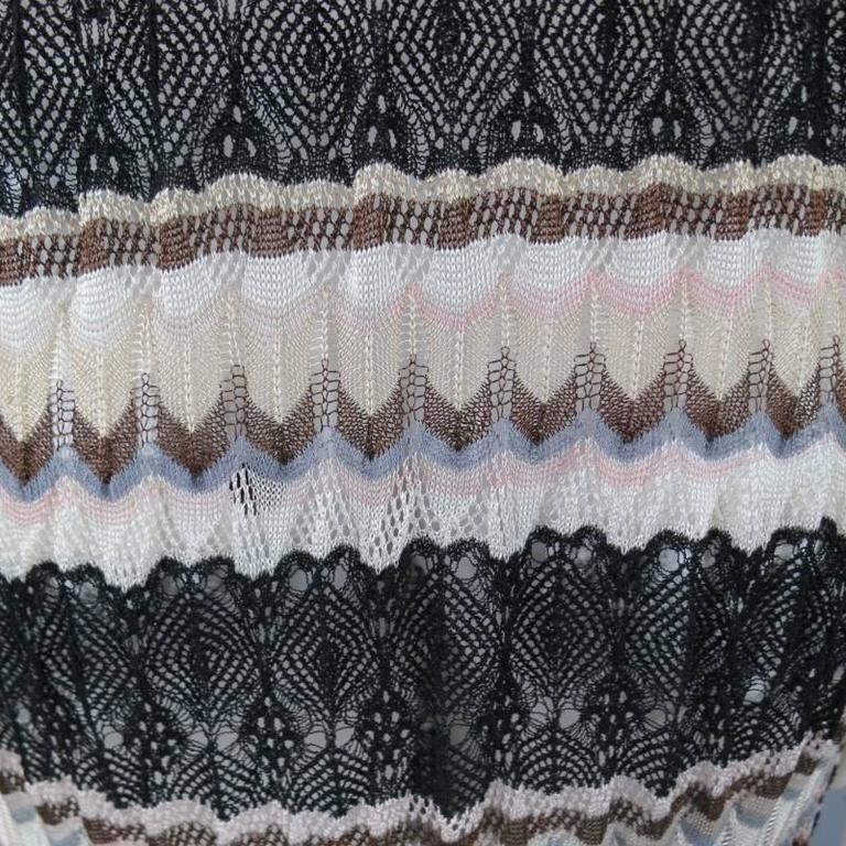MISSONI Beige Brown Pink Grey & Black Striped Mesh Knit Cardigan Coat 9