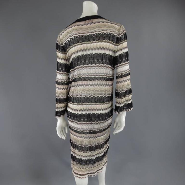 MISSONI Beige Brown Pink Grey & Black Striped Mesh Knit Cardigan Coat 8