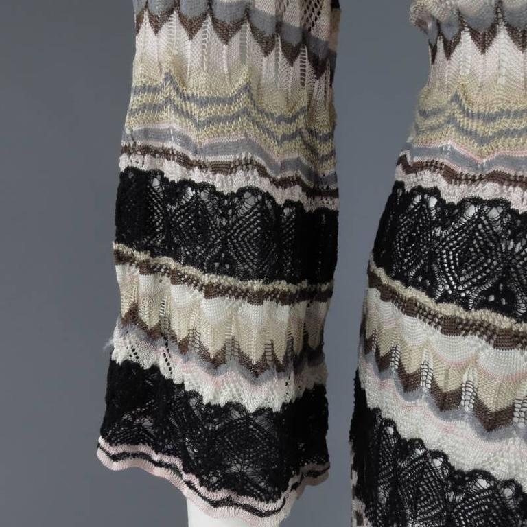 Women's MISSONI Beige Brown Pink Grey & Black Striped Mesh Knit Cardigan Coat For Sale
