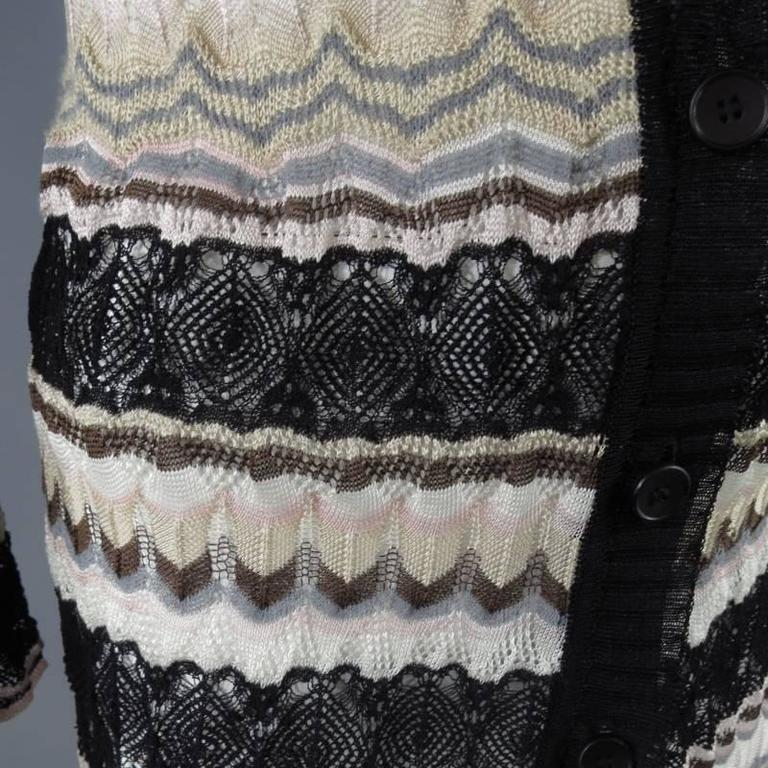 MISSONI Beige Brown Pink Grey & Black Striped Mesh Knit Cardigan Coat 5