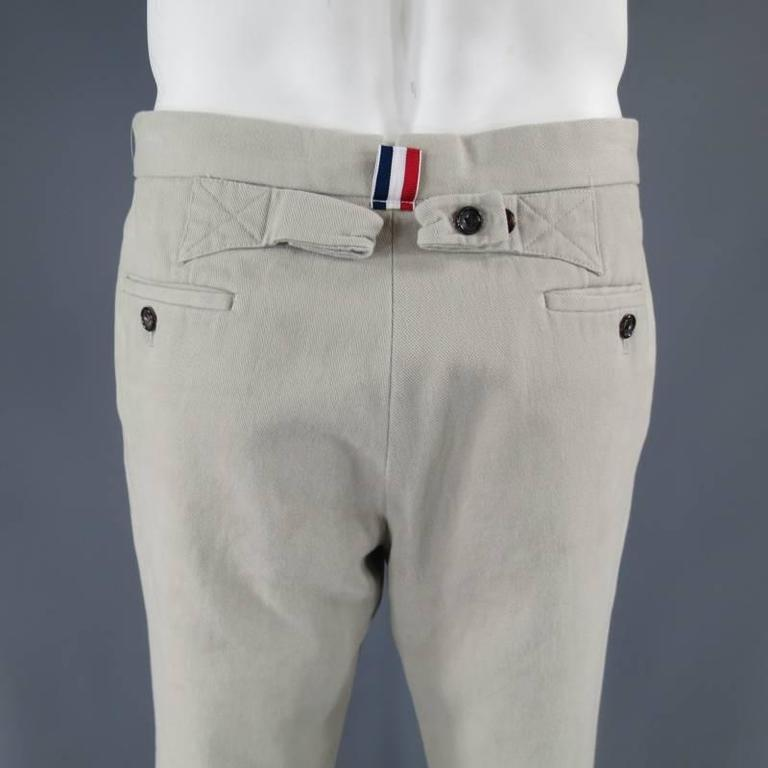 thom browne khaki cotton back belt casual at 1stdibs