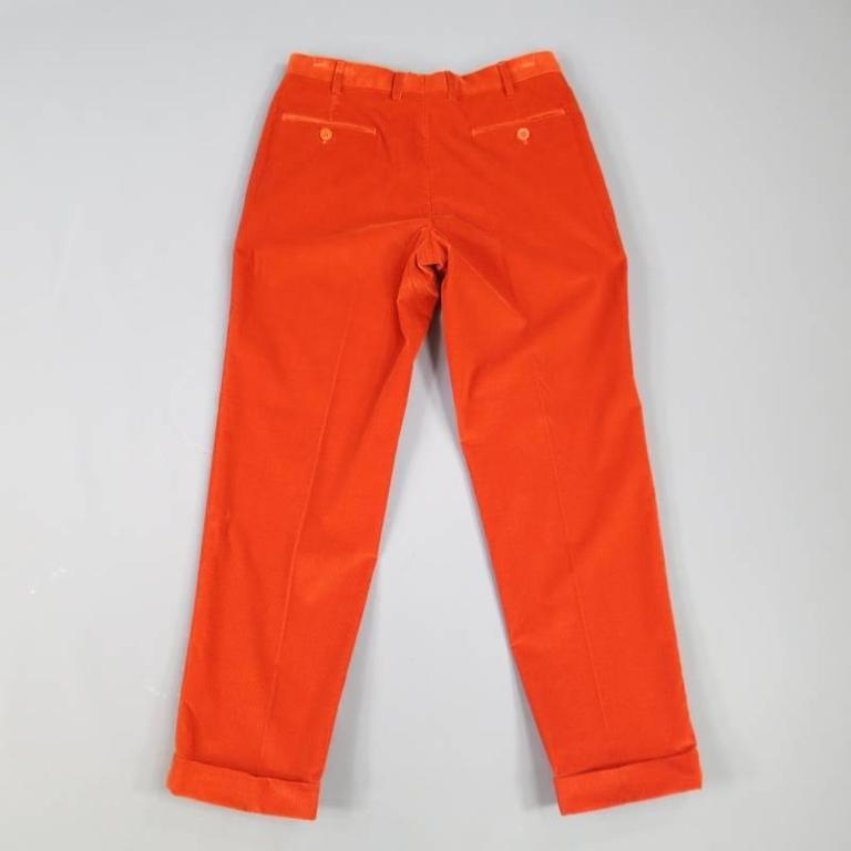 Red BRIONI Size 32 Orange Corduroy Cuffed Dress Pants For Sale