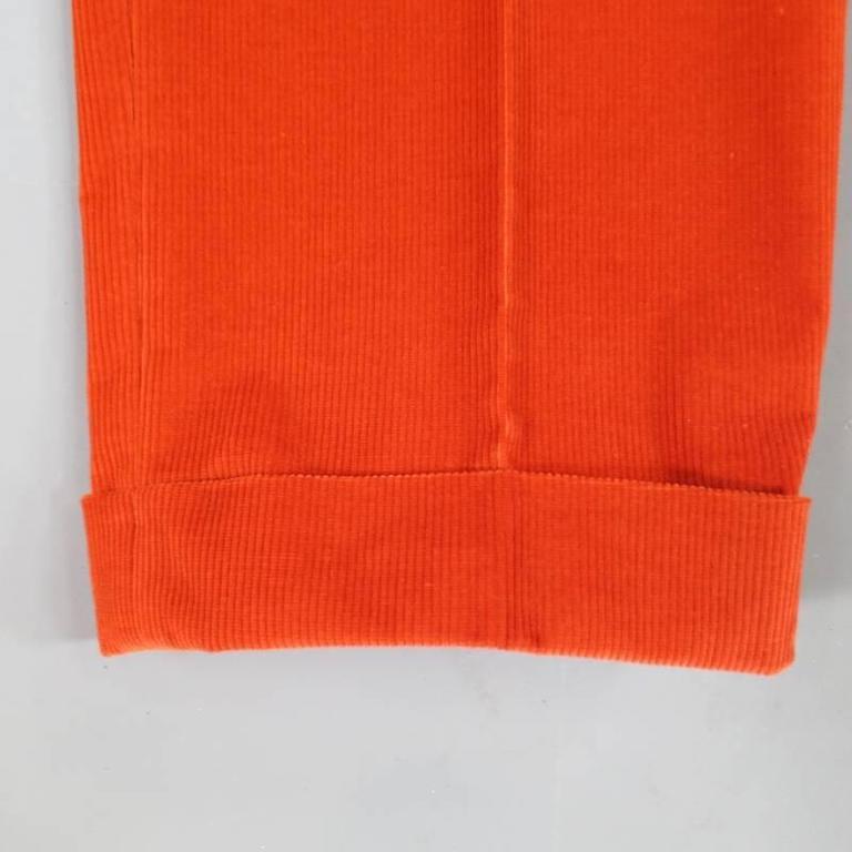 Men's BRIONI Size 32 Orange Corduroy Cuffed Dress Pants For Sale