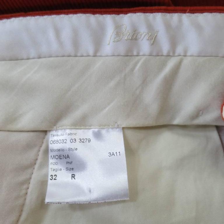 BRIONI Size 32 Orange Corduroy Cuffed Dress Pants For Sale 1