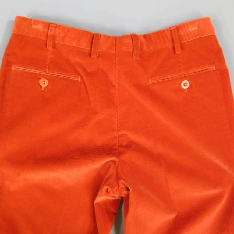 BRIONI Size 32 Orange Corduroy Cuffed Dress Pants In Excellent Condition For Sale In San Francisco, CA