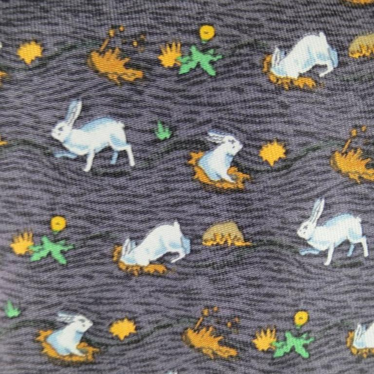 9ee3484ccd84 HERMES Slate Rabbit Hole Print Silk Tie In Excellent Condition For Sale In  San Francisco,