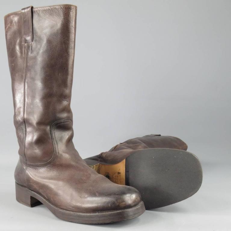 Maison Martin Margiela Size 10 5 Mahogany Brown Leather