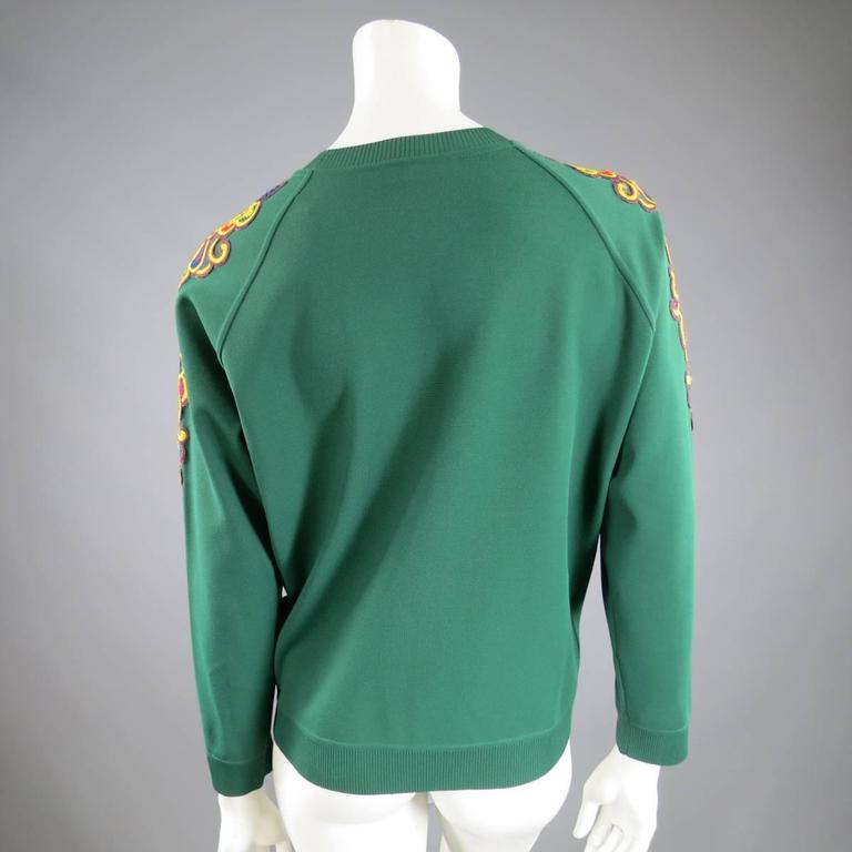 VALENTINO Size L Green Viscose Blend Embroidered Collar Pullover For Sale 2