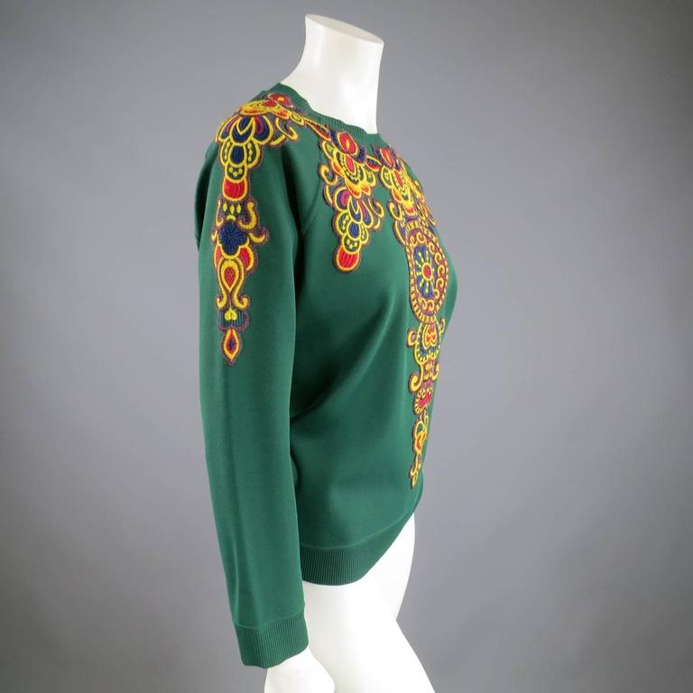 VALENTINO Size L Green Viscose Blend Embroidered Collar Pullover In Excellent Condition For Sale In San Francisco, CA