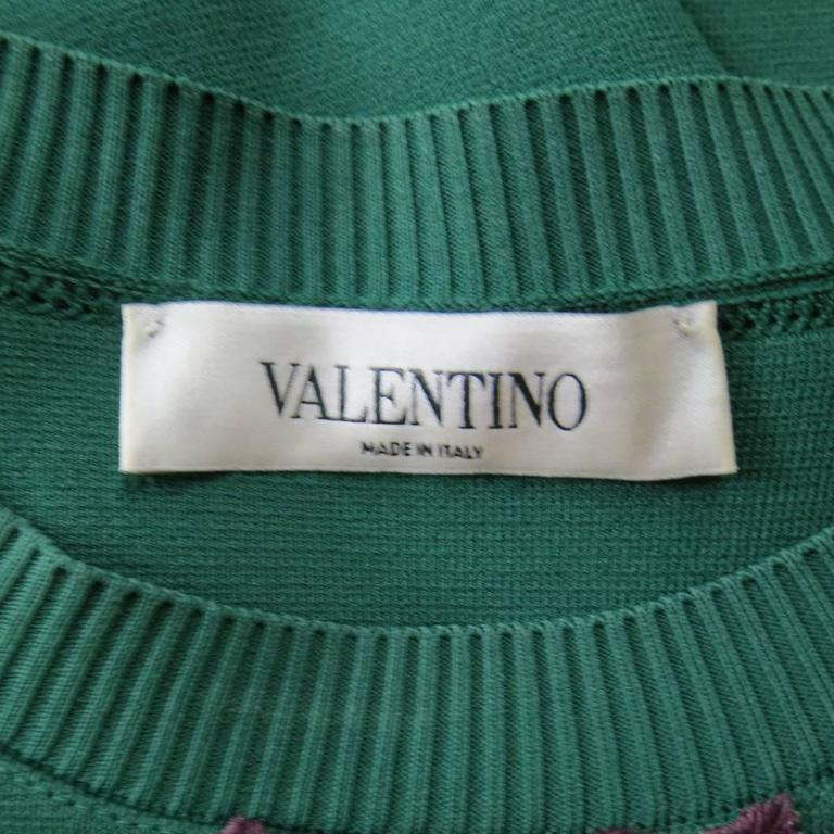 VALENTINO Size L Green Viscose Blend Embroidered Collar Pullover For Sale 3