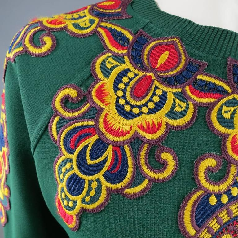 VALENTINO Size L Green Viscose Blend Embroidered Collar Pullover For Sale 1