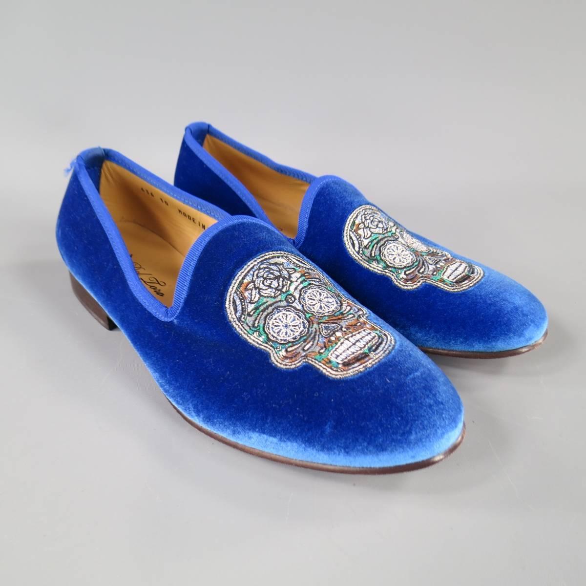 Del Toro Size 10 Royal Blue Velvet Jutti Loafers At 1stdibs