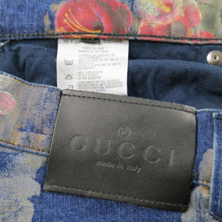 GUCCI Size 30 Floral Painted Medium Wash Jeans 2001 at 1stdibs