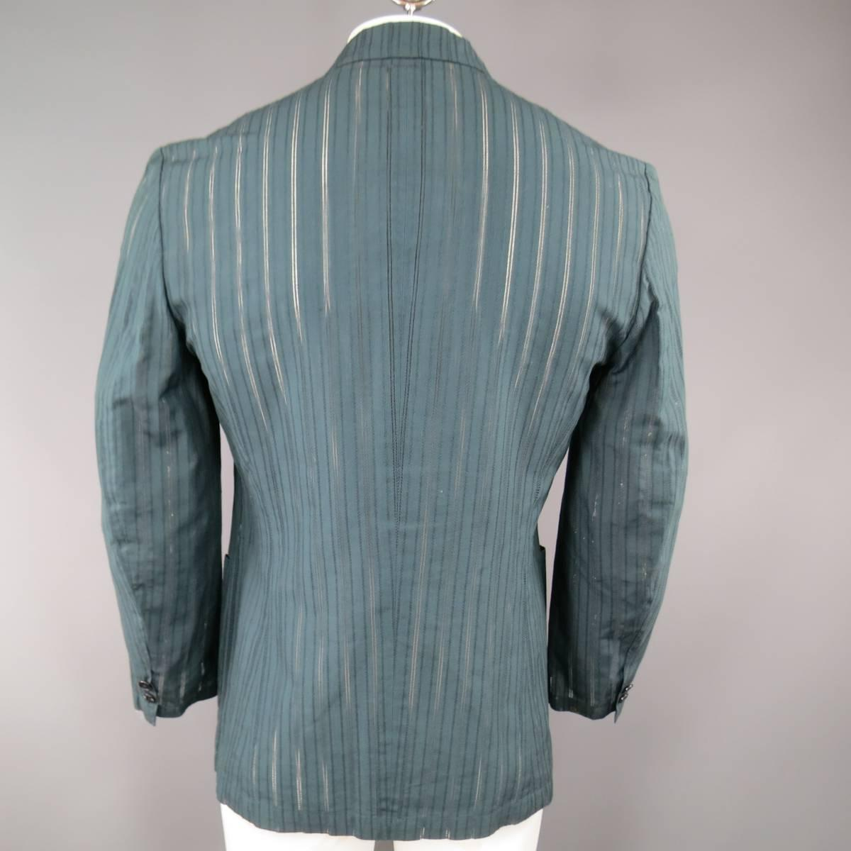 Matsuda Men S 40 Teal Cotton Silk Burnout Striped Sport