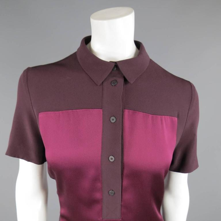 VICTORIA BECKHAM Size 10 Purple Crepe & Burgundy Satin Color Block Shirt Dress 3
