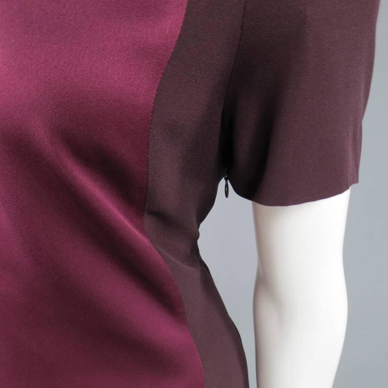 VICTORIA BECKHAM Size 10 Purple Crepe & Burgundy Satin Color Block Shirt Dress 4