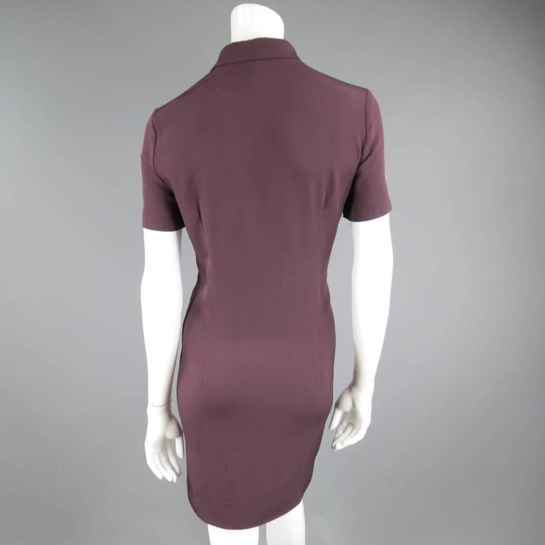 VICTORIA BECKHAM Size 10 Purple Crepe & Burgundy Satin Color Block Shirt Dress 7