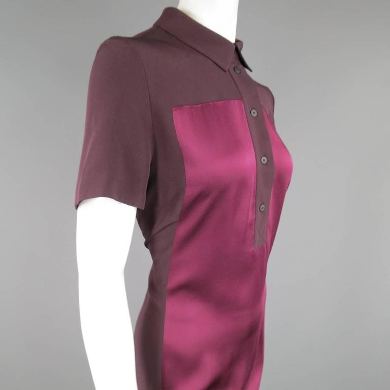 VICTORIA BECKHAM Size 10 Purple Crepe & Burgundy Satin Color Block Shirt Dress 5