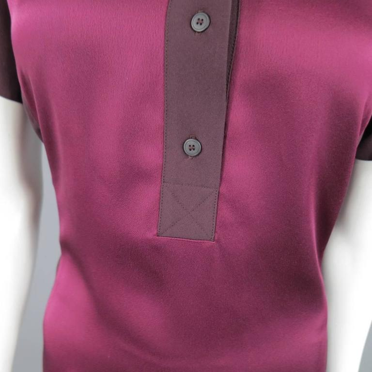 VICTORIA BECKHAM Size 10 Purple Crepe & Burgundy Satin Color Block Shirt Dress 2