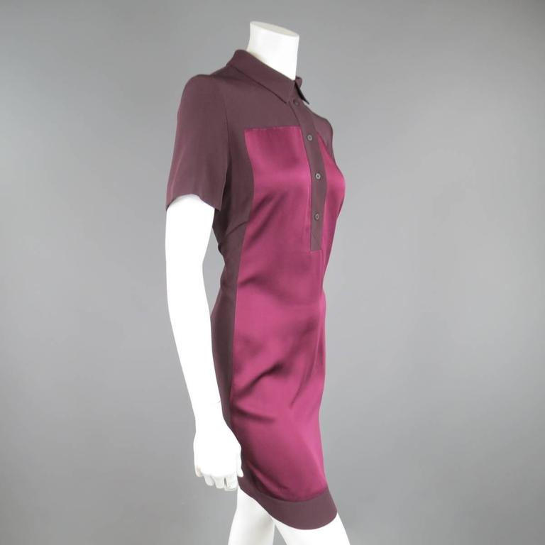 VICTORIA BECKHAM Size 10 Purple Crepe & Burgundy Satin Color Block Shirt Dress 6