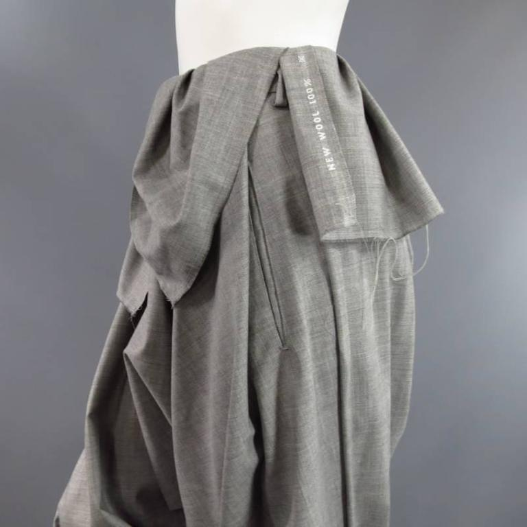 COMME des GARCONS Size S Grey Wool Deconstructed Draped Drop Crotch Pants 5