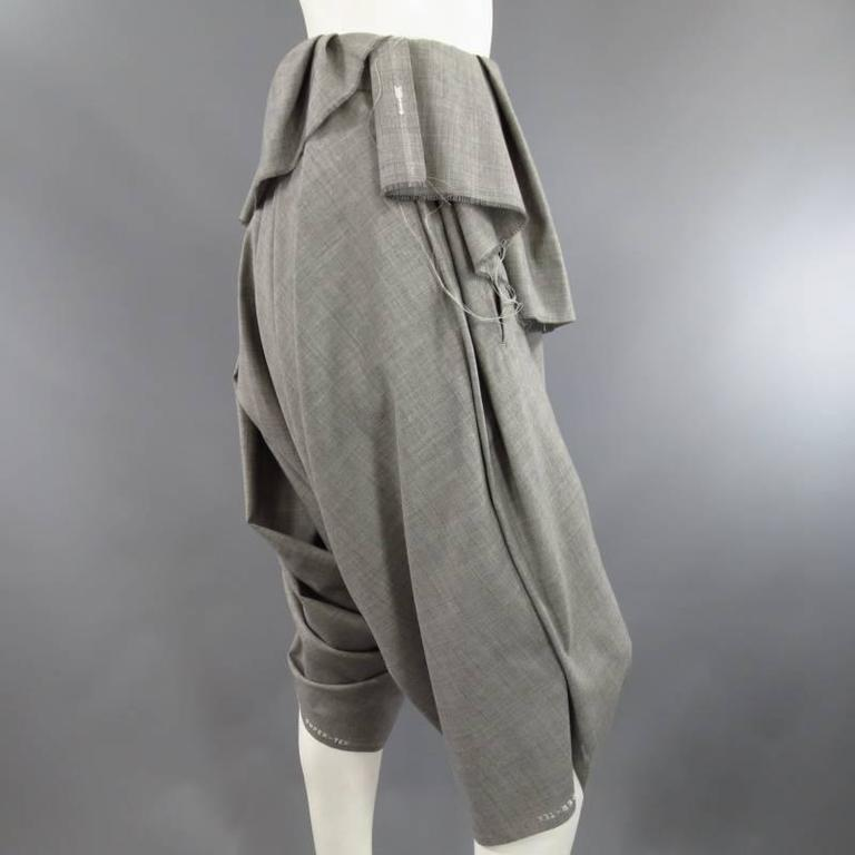 COMME des GARCONS Size S Grey Wool Deconstructed Draped Drop Crotch Pants 4