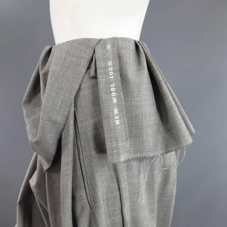 COMME des GARCONS Size S Grey Wool Deconstructed Draped Drop Crotch Pants 6
