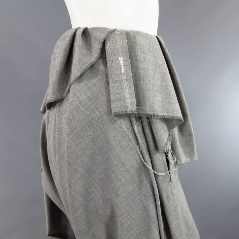 COMME des GARCONS Size S Grey Wool Deconstructed Draped Drop Crotch Pants 7